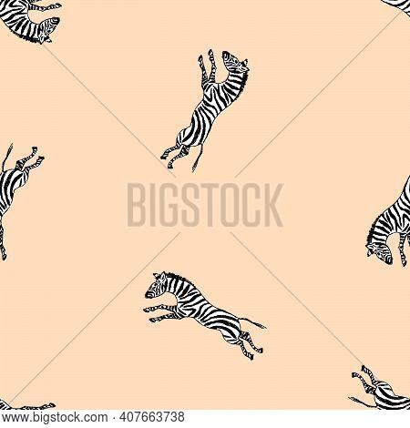 Seamless Background Of Drawn Galloping Wild Zebras
