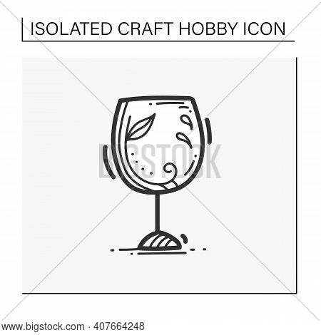 Glass Etching Designs Hands Drawn Icon. Black And White Etching Wine Glass With Decoration. Creative