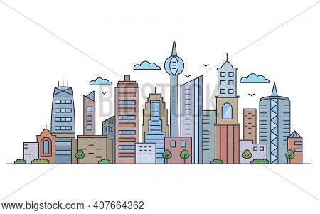 Panorama Of A Big City Metropolis With Modern Buildings And Skyscrapers In A Linear Style
