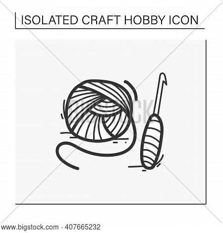 Crochet Basics Hand Drawn Icon. Super Useful Hobby That Engage Both Hands And Stimulate The Brain. T