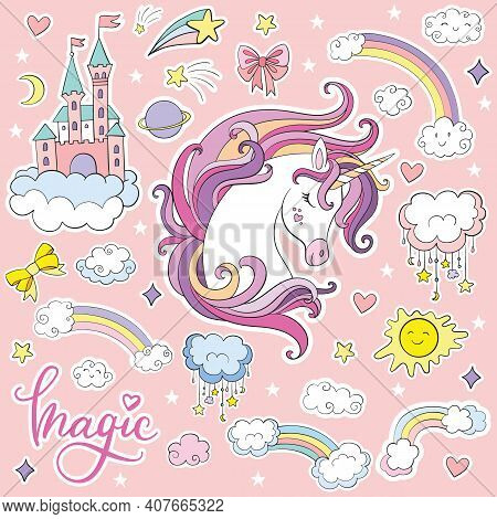 Set Of Beauty Cartoon Unicorn With Magic Elements. Vector Isolated Illustration. For Postcard, Poste