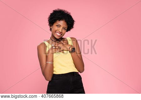 Happy African American Woman Smiling. Beautiful Female Half-length Portrait. Young Emotional Afro Wo
