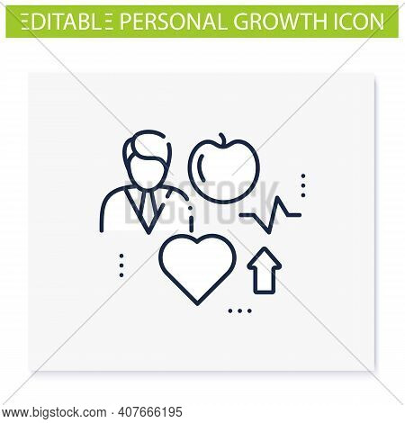 Lifestyle Enhancing Line Icon. Personal Growth Concept. Self Improvement And Self Realization. Way T
