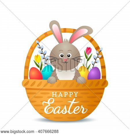 Festive Easter Card With Easter Bunny, Basket, Eggs, Flowers, Willow.