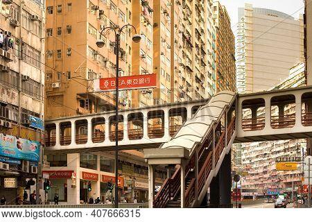 North Point District (pak Kok), Hong Kong Island, China, Asia - December 06, 2008: Footbridge At Kin