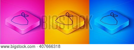 Isometric Line Vandal Icon Isolated On Pink And Orange, Blue Background. Square Button. Vector