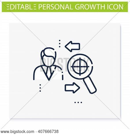 Find Purpose Line Icon. Personal Growth Concept. Catch Out Goals. Self Improving. Life Purpose. Self