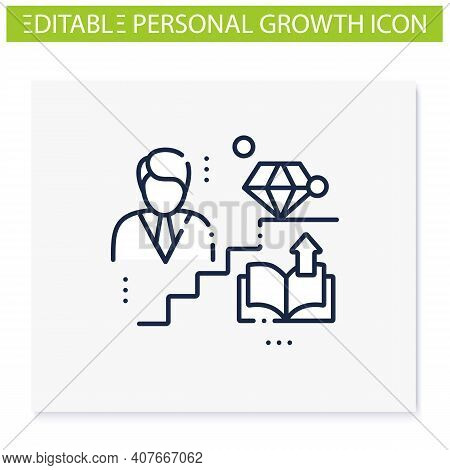 Personal Growth Line Icon. Route To Success. Self Improvement And Self Realization. Business And Car