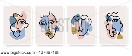 Contemporary Abstract Faces In One Line Art Style On Colorful Shapes.