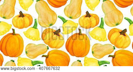 Orange And Yellow Pumpkin Watercolor Seamless Pattern. Different Pumpkin Harvest Autumn Illustration