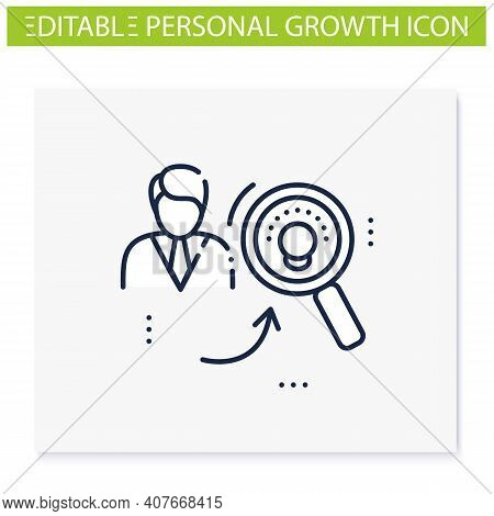 Identifying Potential Line Icon.personal Growth Concept.self Improvement And Talent Acquisition.pers