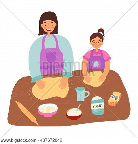 Mother And Daughter Pastime, Healthy Cooking Concept. Woman Teaches Her Little Girl A Gluten Free He