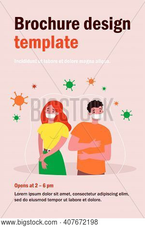 People In Anxiety Because Of Coronavirus Flat Vector Illustration. Cartoon Man And Woman In Masks. W