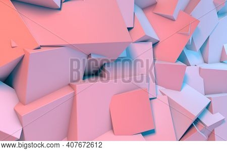 Abstract Background With 3d Shapes Flying In Pink And Blue Light As A Messy Array Or Chaotic Structu