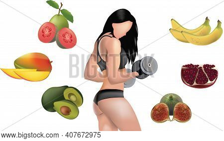 Woman Bodybuilder Surrounded By Fruit Woman Bodybuilder Surrounded By Fruit