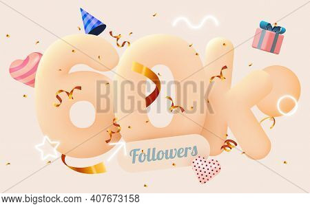 60k Or 60000 Followers Thank You Pink Heart, Golden Confetti And Neon Signs. Social Network Friends,