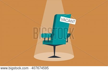 Composition With Office Chair And A Vacant Sign. Business Hiring Concept.