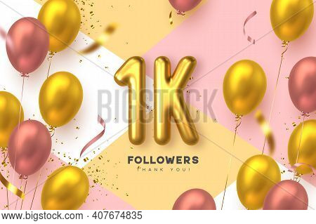 One Thousand Followers Banner. Thank You Followers Vector Template With 1k Golden Sign And Glossy Ba
