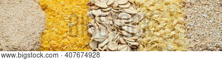 Oat Flakes, Corn Flakes, Millet Flakes And Two Types Of Oat Bran.
