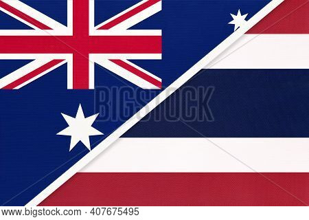 Australia And Thailand Or Siam, National Flags From Textile. Relationship, Partnership And Match Bet
