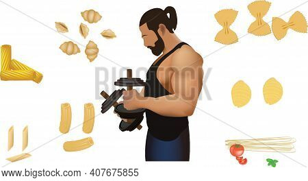 Bodybuilder Athlete Lifts Weights Surrounded By Carbohydrates