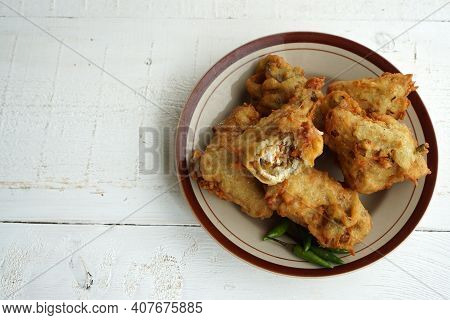 Indonesian Traditional Snack Made From Fried Tofu And Vegetables Called `tahu Susur`. Stuffed Tofu F