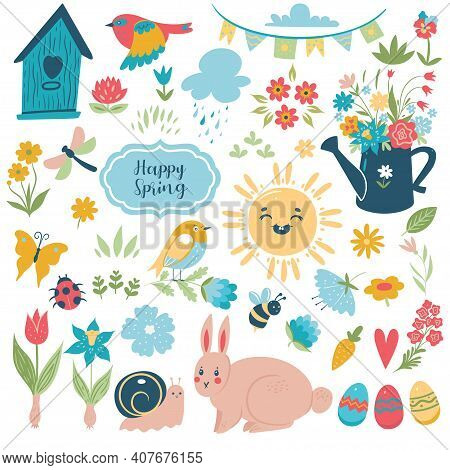 Spring Easter Set Of Elements - Flowers, Birds, Eggs, Rabbit, Sun, Insects Isolated On White Backgro