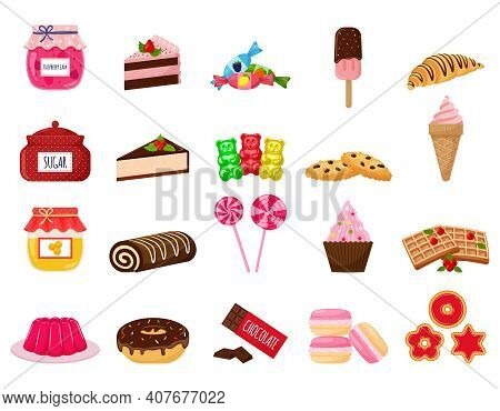 A Set Of Sweets. Sweet Pastries, Cake, Sweets, Desserts. A Collection Of Delicious, High-calorie Foo