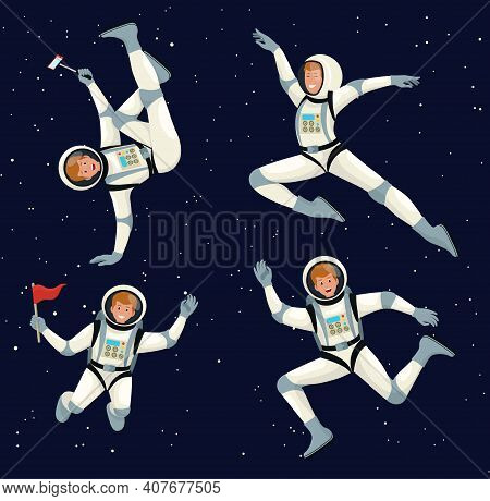 Astronaut In Space Suit Floating In Open Space In Different Positions Set. Huge Vector Clip Art Hand