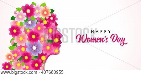 Happy Women's Day, Beautiful Girl Head With Flowers Pattern. Greeting Card On March 8 With Paper Cut
