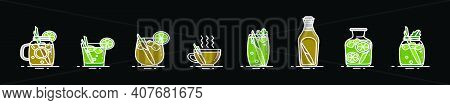 Set Of Lemongrass Drink Cartoon Icon Design Template With Various Models. Modern Vector Illustration