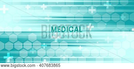 Abstract Hexagon Pattern And Lines On Green Background. Medical Health Care And Science Icon Medical