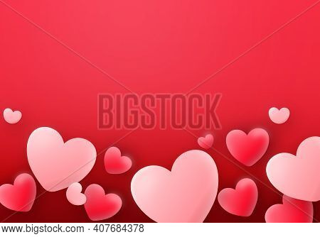 Valentines Day 3D Balloons Hearts On Red Love Romantic Cut Banner Background. Vector Illustration