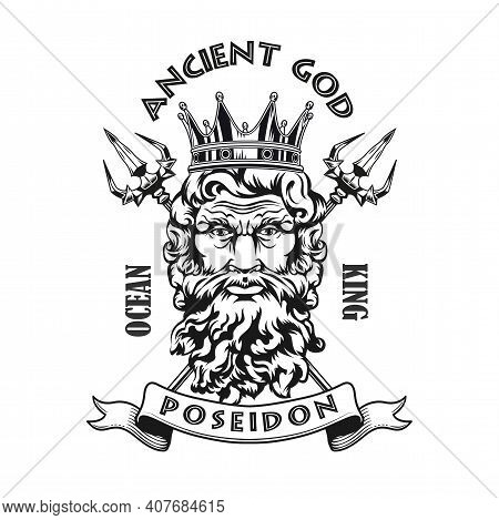 Poseidon Head Emblem Design. Monochrome Element With God Of Sea In Crown, Tridents In Circles Vector