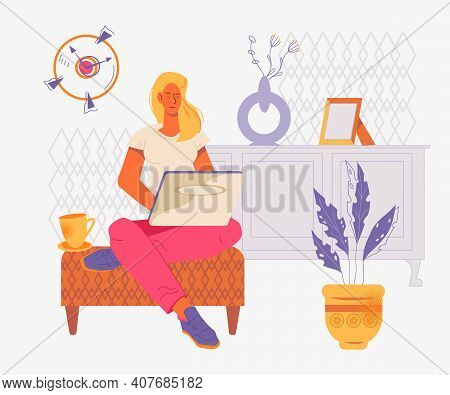 Young Self-employed Woman Working From Home At Laptop, Flat Vector Illustration. Freelance And Remot