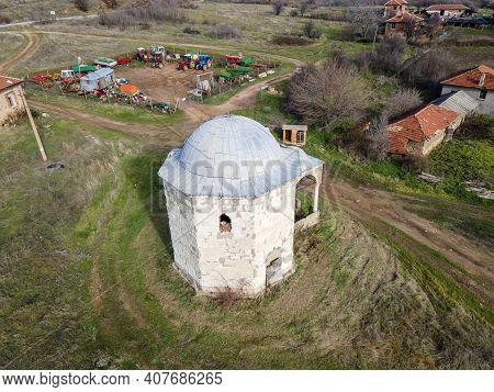 Aerial View Of Sixteenth Century Ottoman Tomb Of Hazar Baba (hazar Baba Tyurbe) In Village Of Bogomi