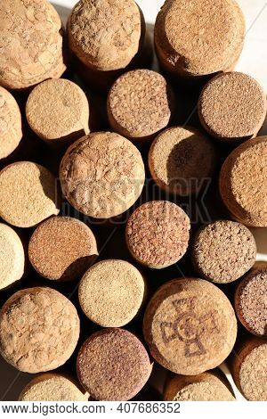 Many Cork Texture Bottle Bungs Filling Background.