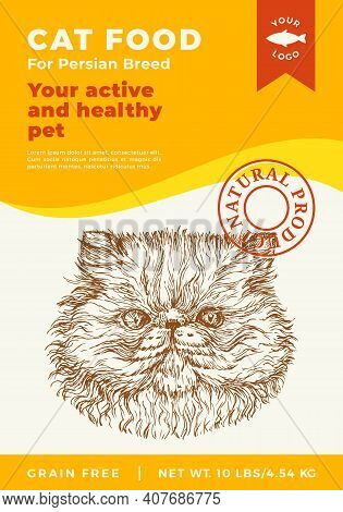Cat Food Label Template. Abstract Vector Packaging Design Layout. Modern Typography Banner With Hand
