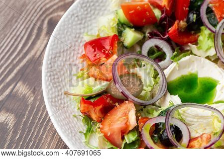 Greek Salad With Fresh Vegetables: Tomato, Cucumber, Red Bel Pepper, Lettuce, Red Onion, Olives And