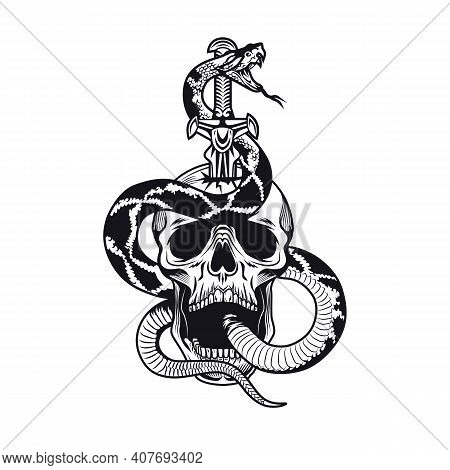 Tattoo Design With Snake And Skull. Monochrome Element With Skeleton Head And Sword Vector Illustrat