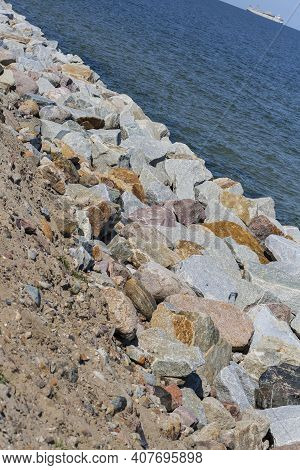 Blocks Of Different Kinds Of Stones Making Strengthening Of Sea Shore