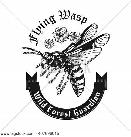 Monochrome Emblem With Wild Wasp Looking For Prey Vector Illustration. Retro Tattoo With Flying Wasp