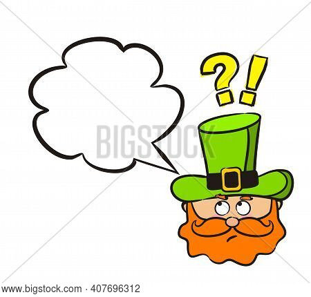 Pensive Leprechaun Emoji With Speech Bubble And A Question Mark. Irish Cartoon Labels And Stickers.