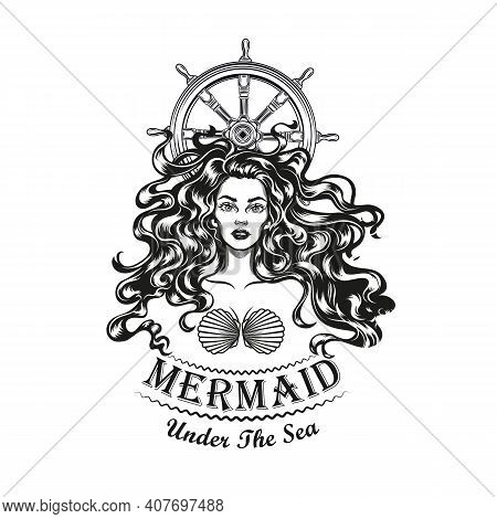 Mermaid And Sailing Rudder Tattoo Design. Monochrome Element With Girl In Seashell Bra Vector Illust