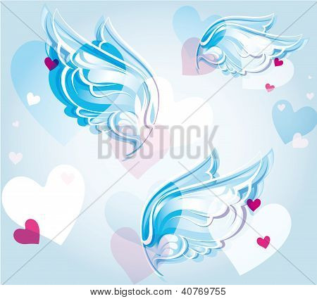 abstract background with wings and hearts