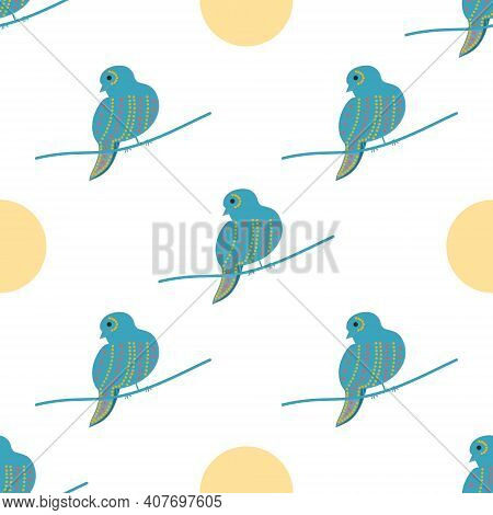 A Green Sparrow And A Yellow Circle In The Form Of A Pattern On A White Background