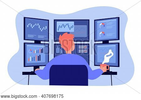 Broker Working On Stock Market At Workplace. Trader Analyzing Financial Charts On Multiple Computer