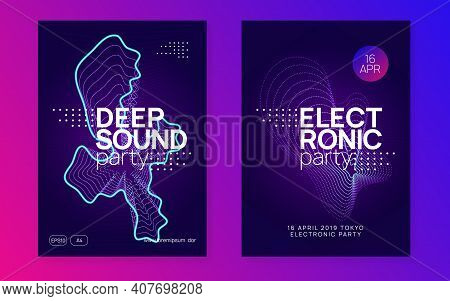 Dance Flyer. Dynamic Fluid Shape And Line. Wavy Show Cover Set. Neon Dance Flyer. Electro Trance Mus