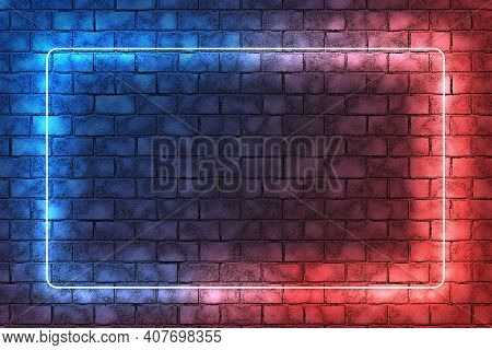 Red And Blue Neon Light Frame On Brick Wall Background. Dark Empty Room