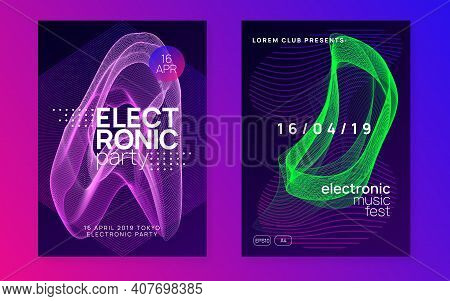 Trance Event. Curvy Concert Cover Set. Dynamic Fluid Shape And Line. Neon Trance Event Flyer. Techno